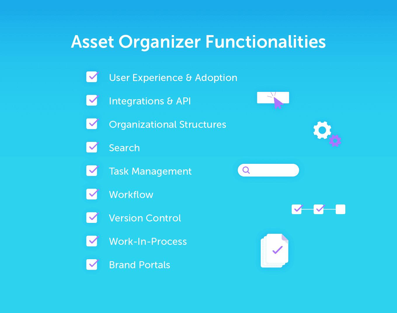 List of Asset Organizer Functionalities