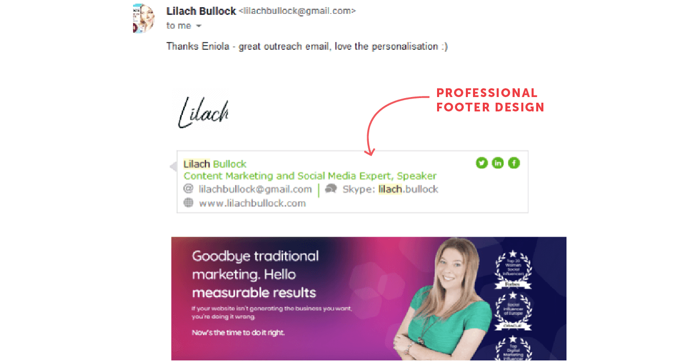 Email footer from Lilach Bullock with a professional-looking design