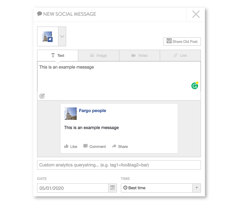 New social message in Coschedule
