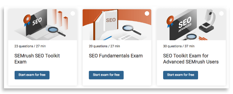 SEMrush academy tools.