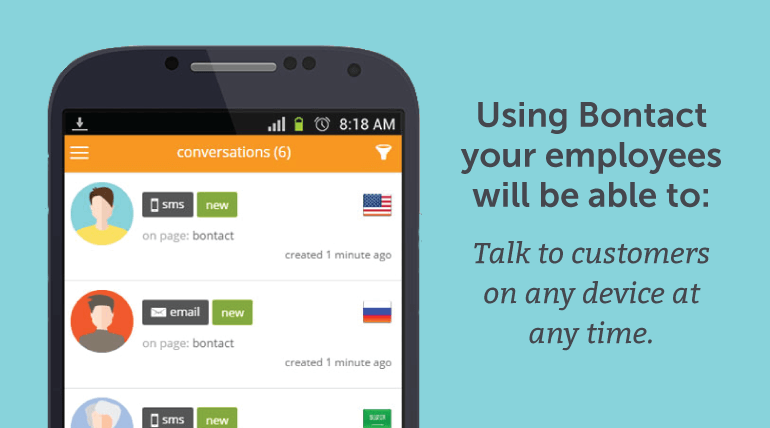 Using Bontact your employees will be able to talk to customers on any device at any time.