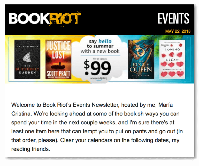 Sample email intro from Book Riot