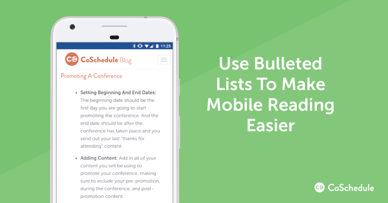 Use Bulleted Lists to Make Mobile Reading Easier