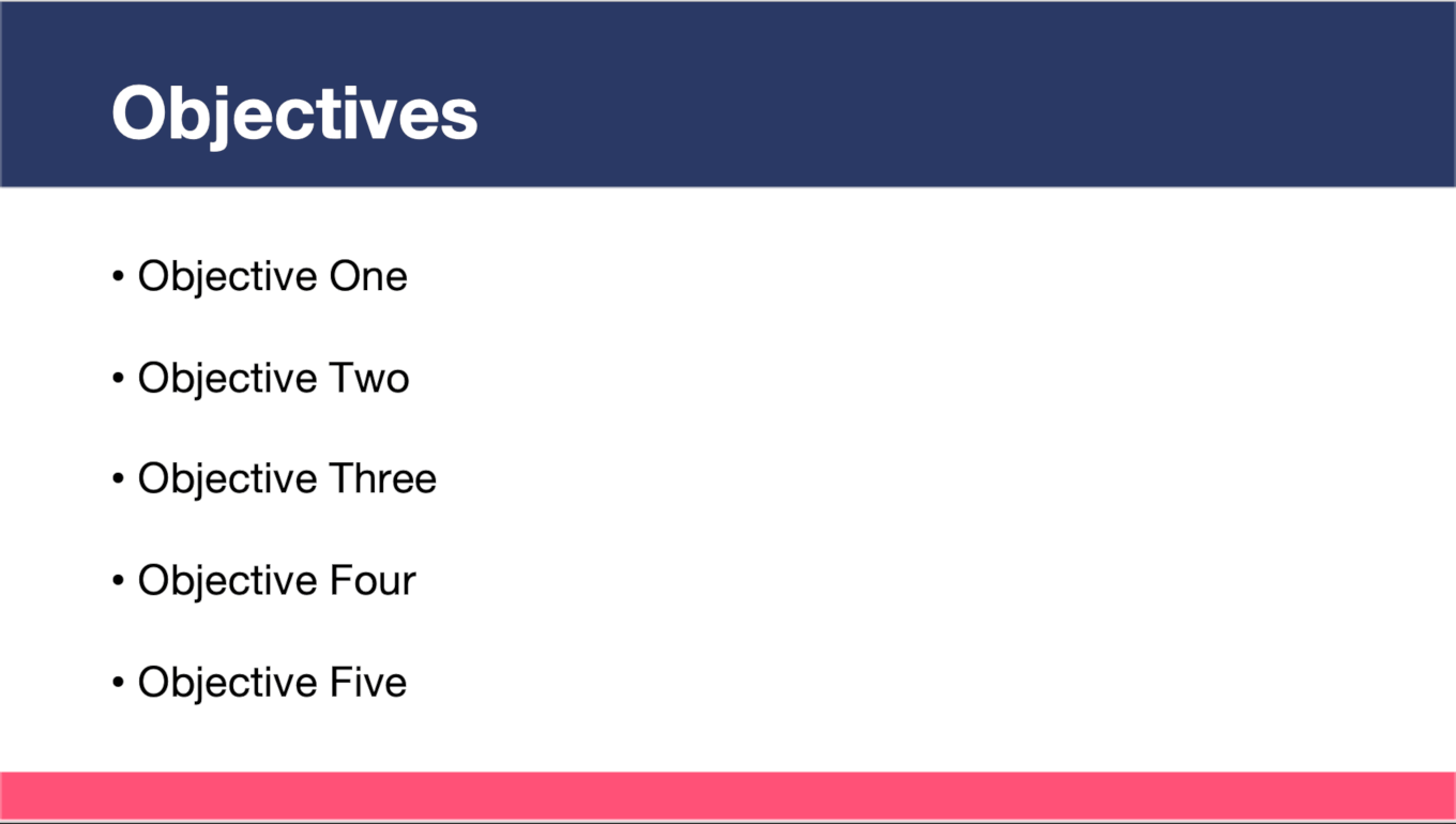 Business Objectives Template Slide