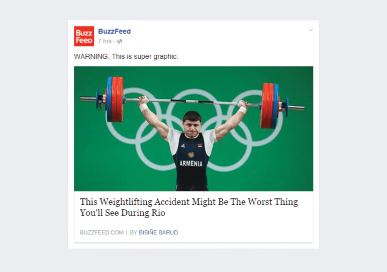 Facebook post from Buzzfeed that uses curiosity.