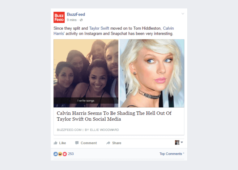 Example of a Facebook post inspiring curiousity