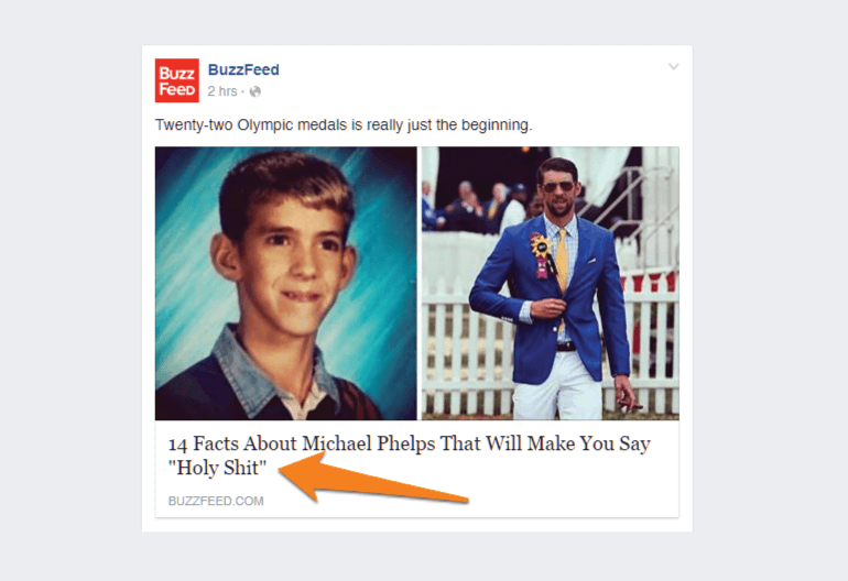 Buzzfeed post using exclamatory text