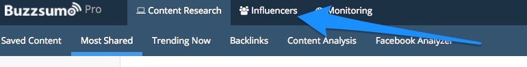 Select Influencers in BuzzSumo