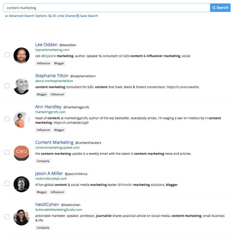 List of influencers in BuzzSumo