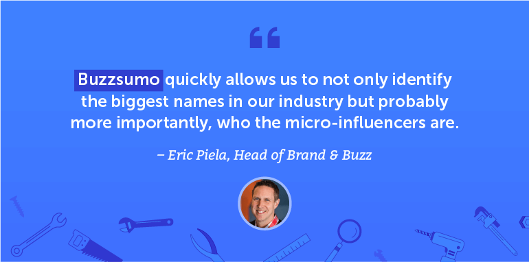 Buzzsumo quickly allows us to not only identify the biggest names in our industry ...