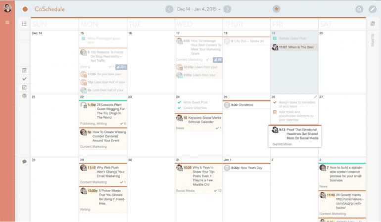 Example of a content calendar.