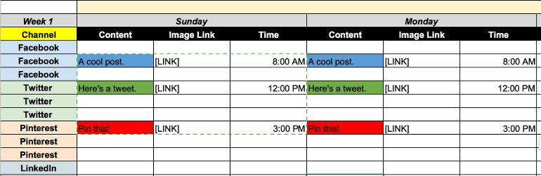Example of a social media calendar