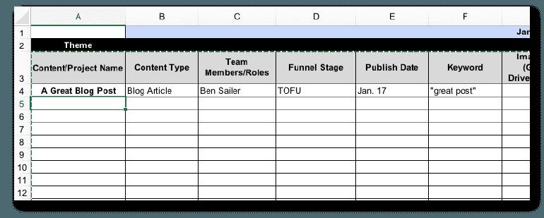Example of a content marketing calendar spreadsheet