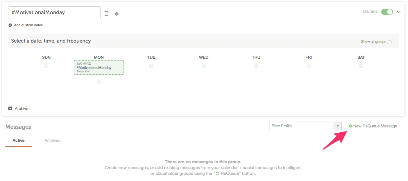Add a new ReQueue message in the bottom right corner.