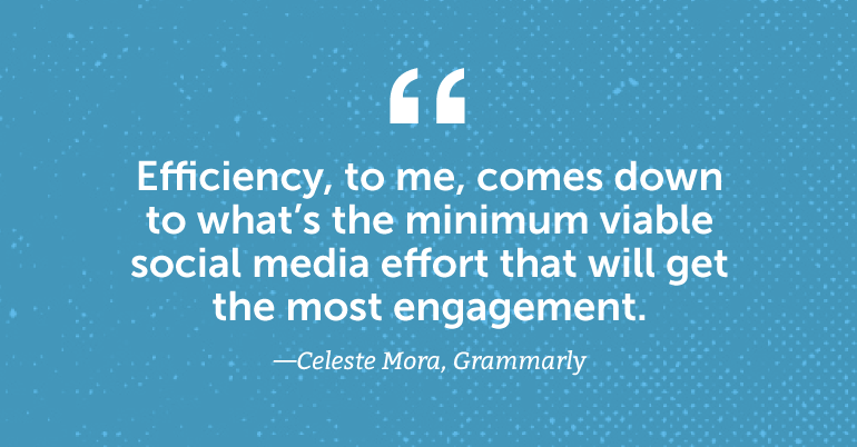 Efficiency, to me, comes down to what's the minimum viable social media effort that will get the most engagement.