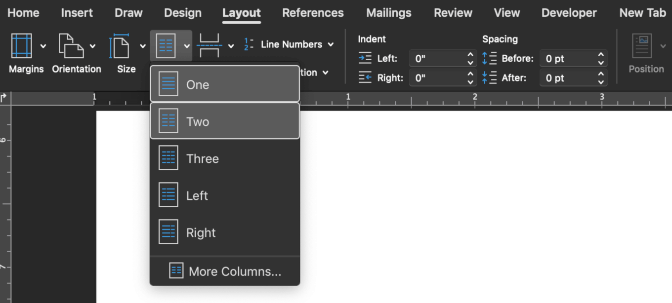 Changing columns in Word