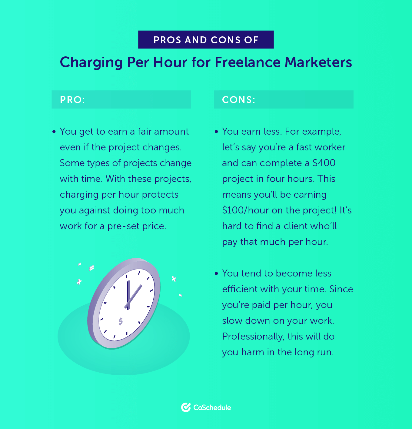 Pros and Cons of Charging Per Hour for Freelance Marketers