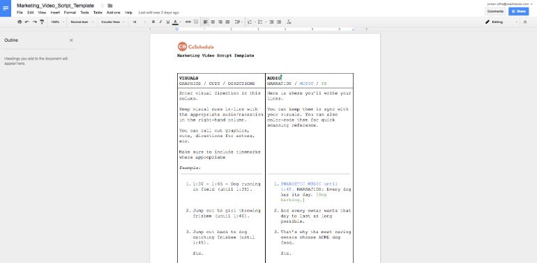 Click into a Google Docs file in CoSchedule