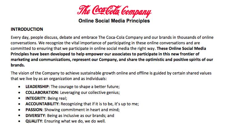 Coke's Social Media Policy
