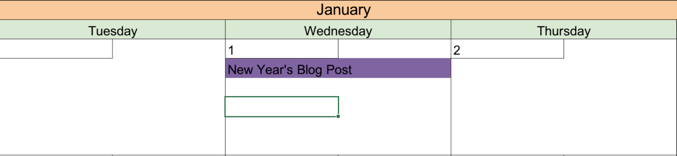 Example of color coding on the calendar