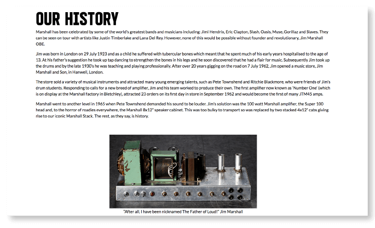 Example of a company history page from Marshall