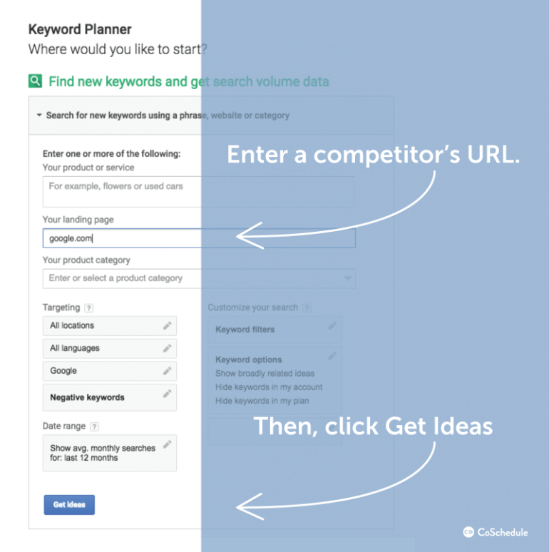 Enter a competitor's URL and then click Get Keyword Ideas.