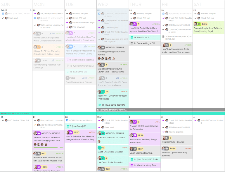 View of the complete calendar
