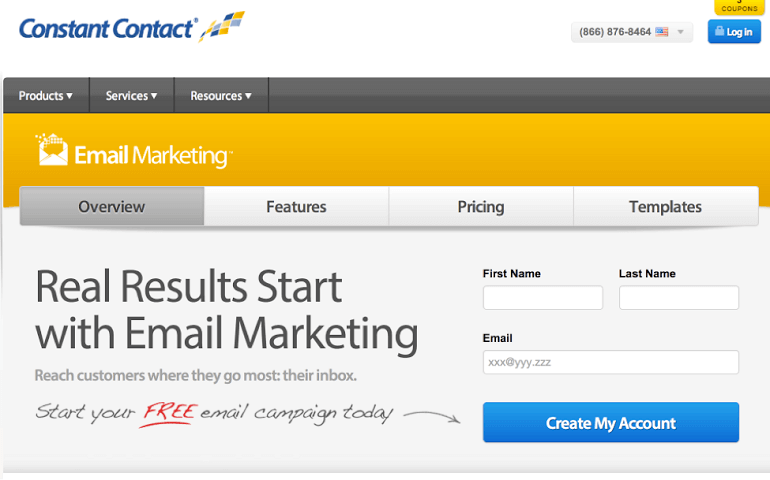 Example of a lead generation form from Constant Contact