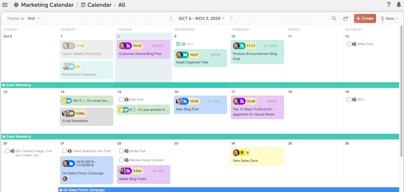Example of the CoSchedule marketing calendar