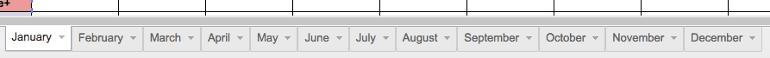 Screenshot of tabs on the content calendar