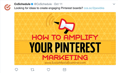 Content Curation Example via CoSchedule's Twitter, sharing Social Media Examiner's content.