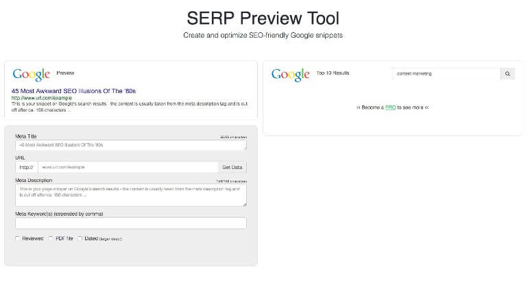 Content Forest SERP Preview Tool screenshot