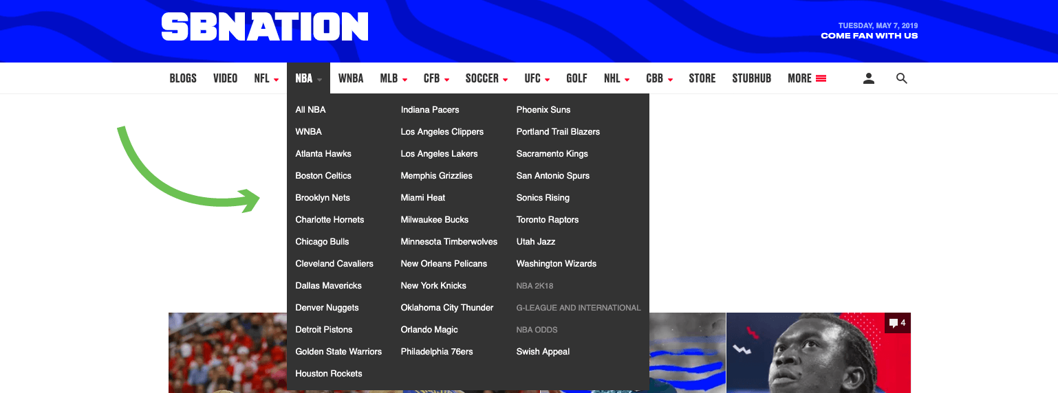 SBNation blog homepage with demonstrated dropdown menu