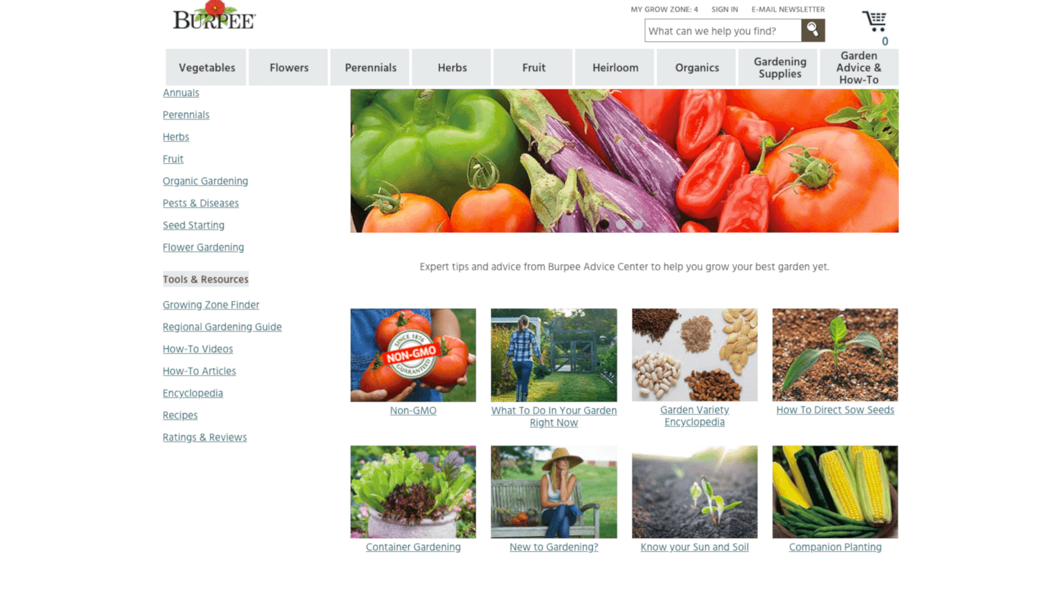 Burpee main blog page navigation about gardening