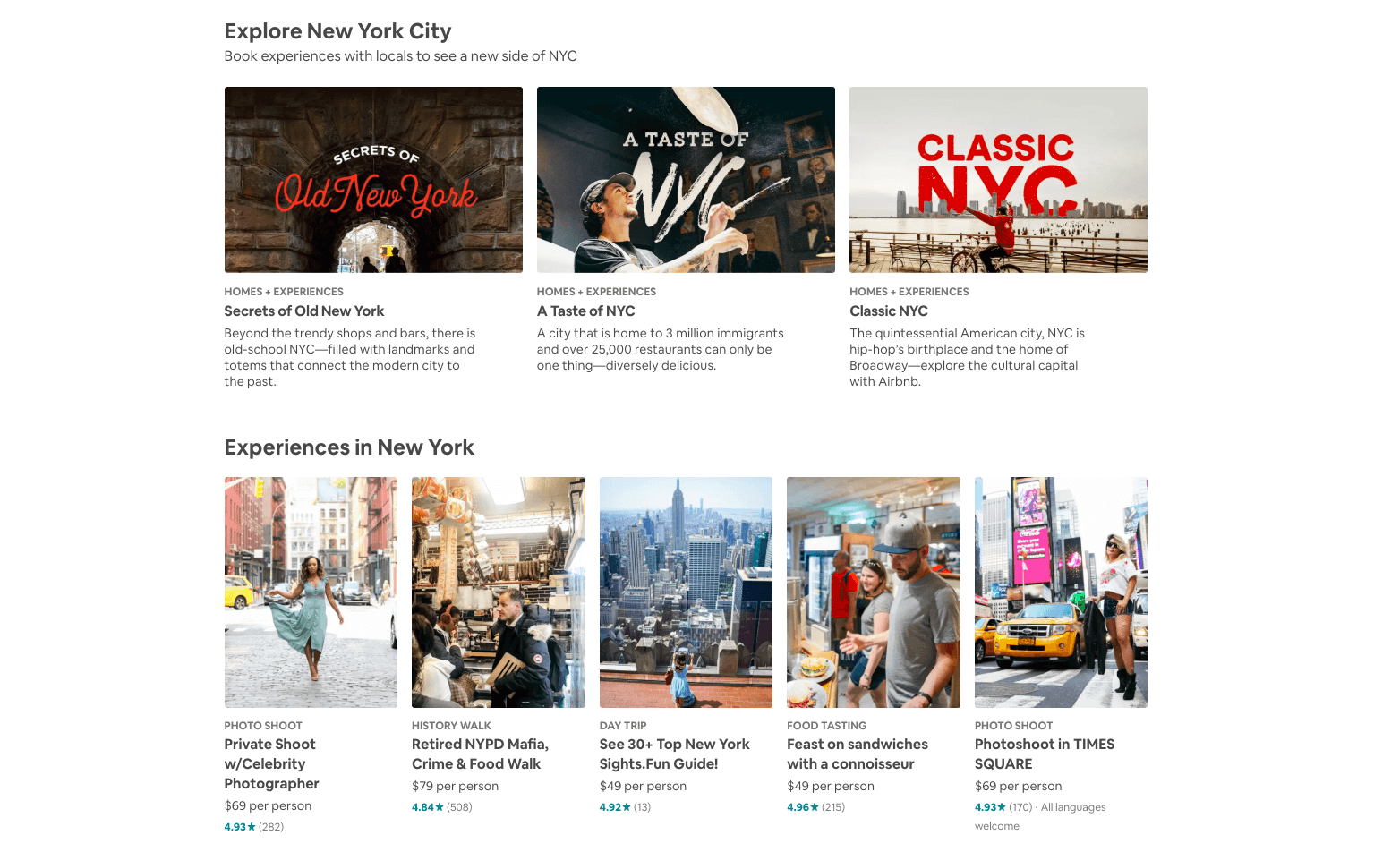 AirBnB content hub on their blog's homepage