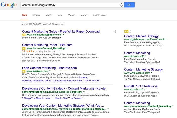 planning your content marketing promotion strategy with a Google search