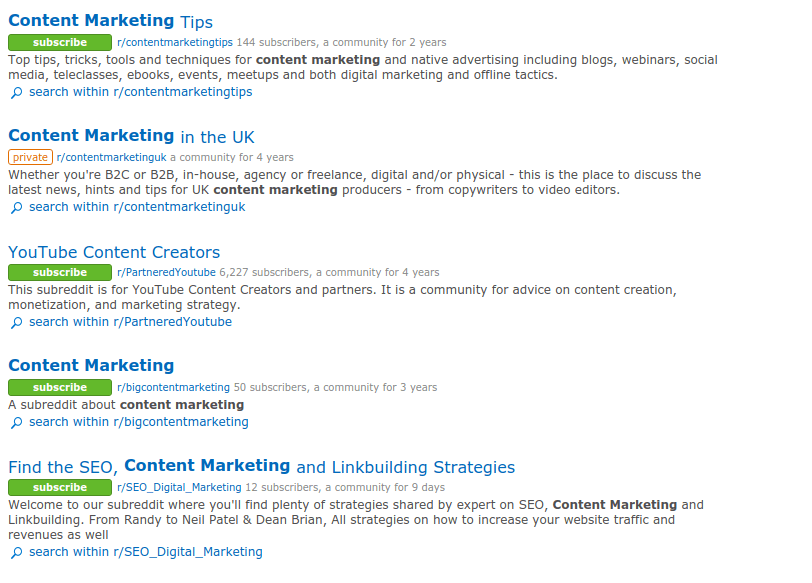 Content marketing reddit threads