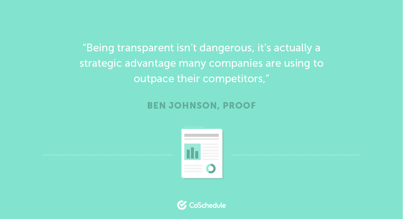 Quote about transparency in B2B content marketing