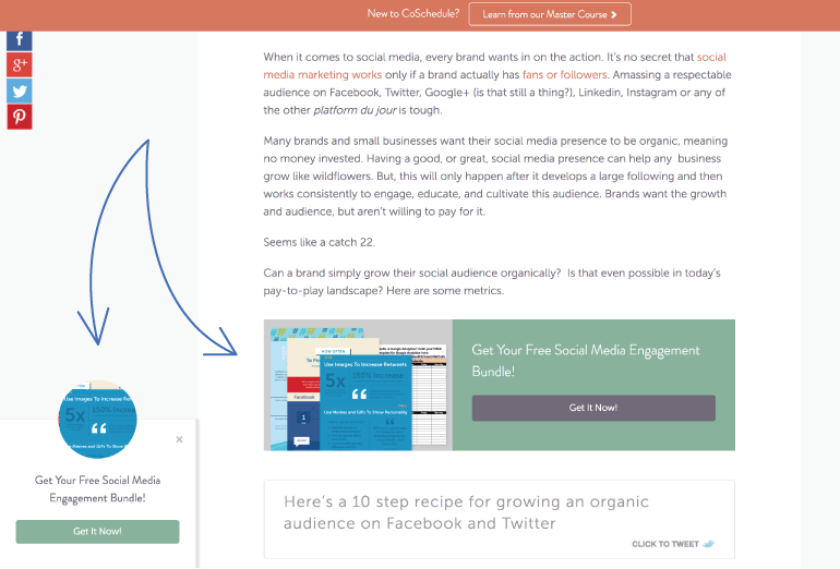 Content upgrade placement on the CoSchedule Blog