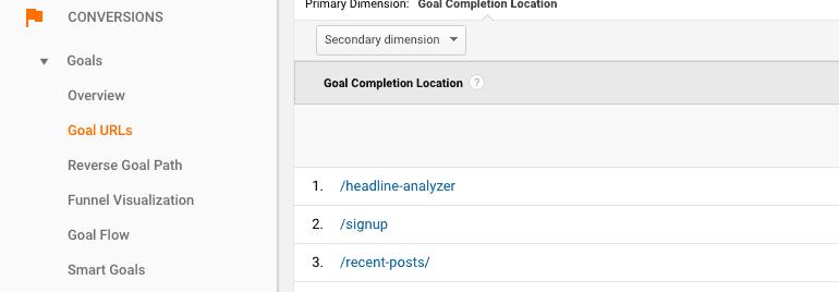 Conversion Goal URLs