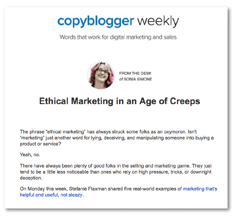 Example of strong email copy from Copyblogger