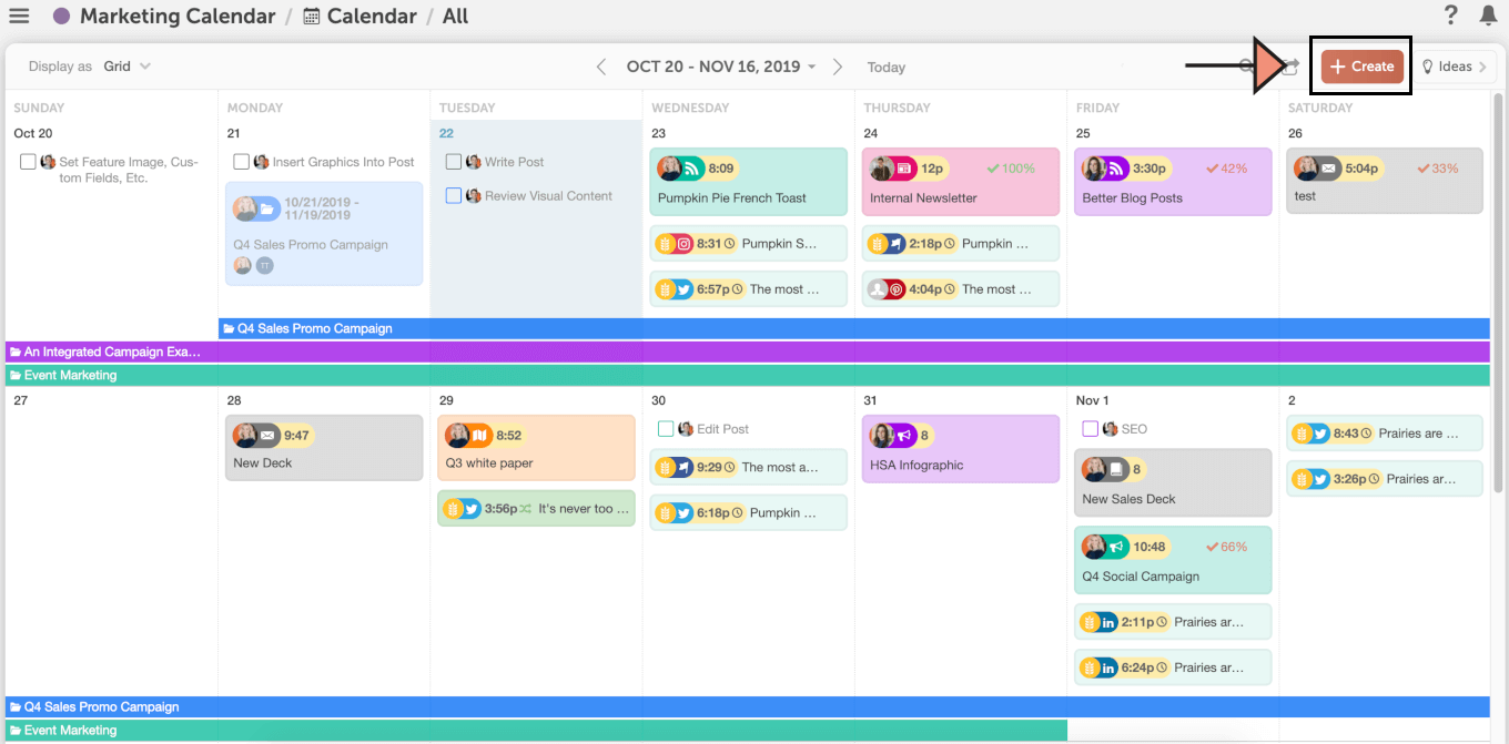 Example of the CoSchedule Calendar