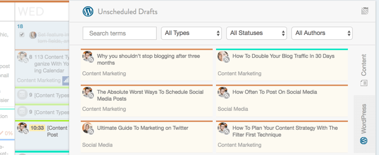 Unscheduled drafts in CoSchedule