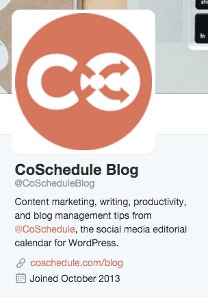 CoSchedule Blog Twitter bio