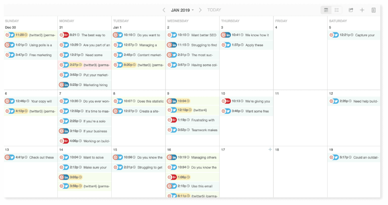 CoSchedule calendar with social media posts visible