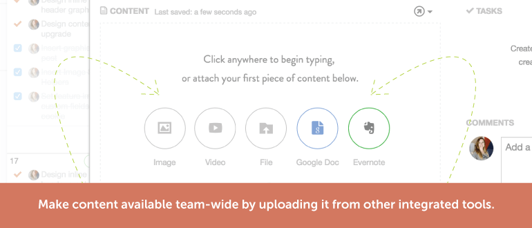 Make content available team-wide by uploading it from other integrated tools.