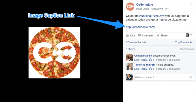 Example of a link in a Facebook image caption