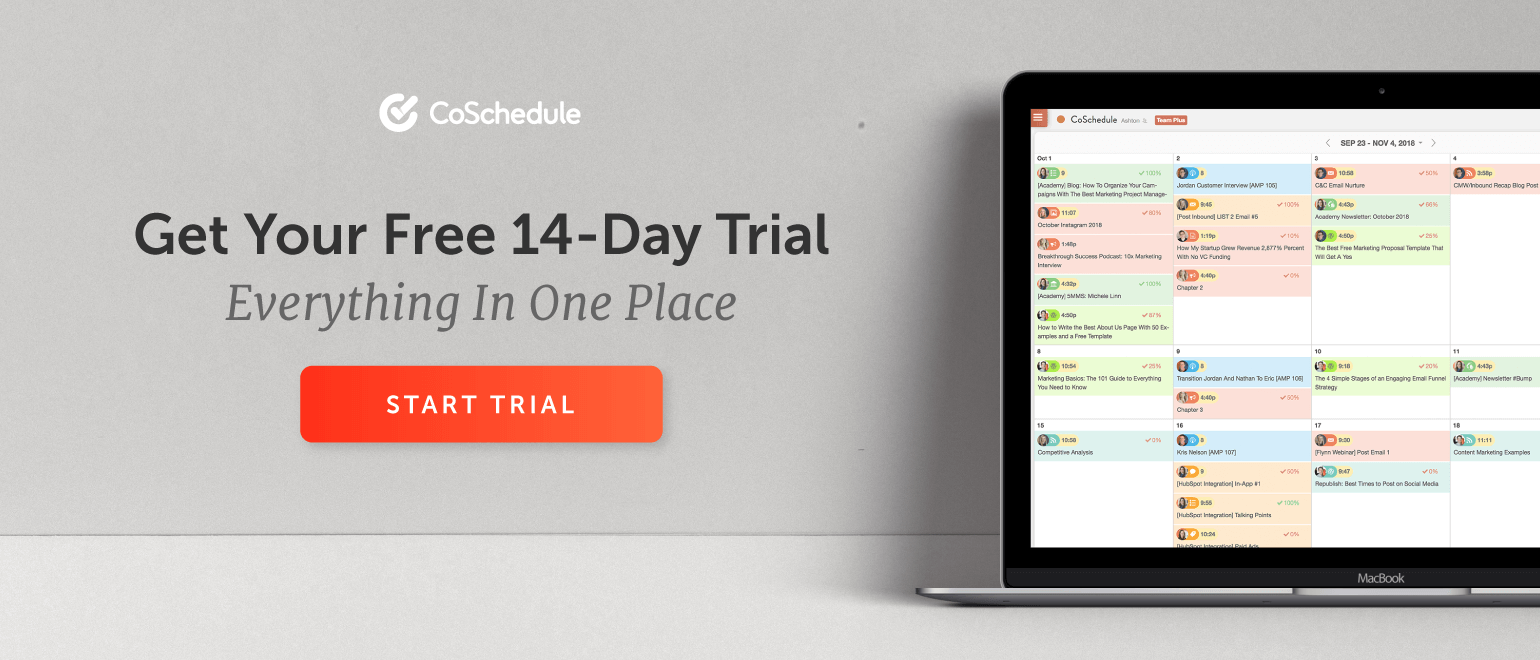 CoSchedule: Get 14 Days Free