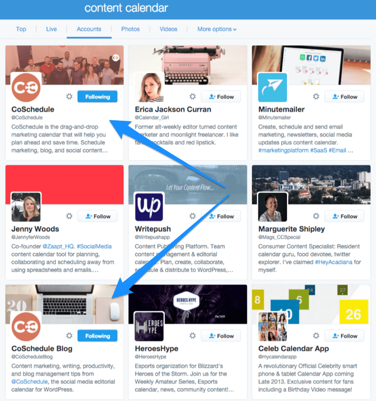 CoSchedule in Twitter search