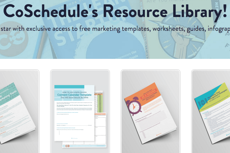 Screenshot of the CoSchedule Resource Library